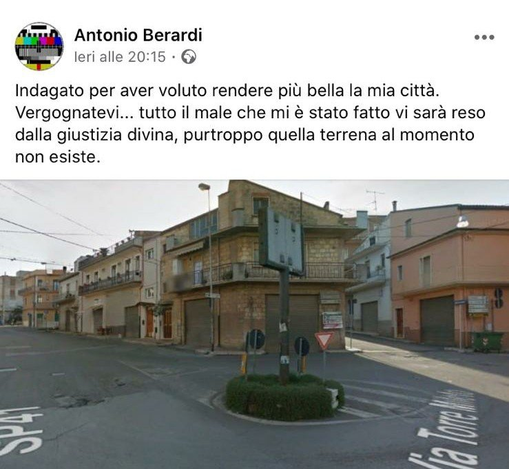 Il post facebook di Berardi